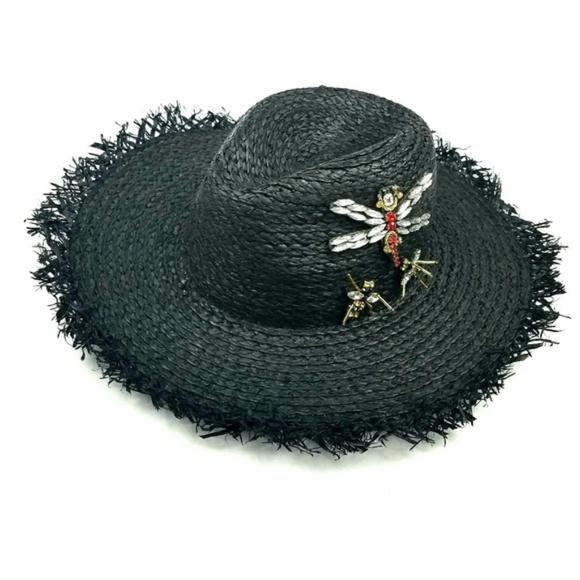 ac4c3deb549 Steve Madden Black Jeweled Beach Straw Hat. M 5c478c672e1478da703d3099.  Other Accessories ...